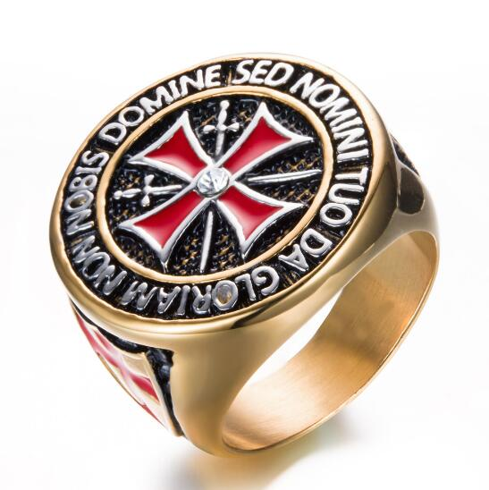 10pcs lot Classic Cross Knights Templars Ring Templar Rings Titanium Crystal Freemason Masonic Ring Men s