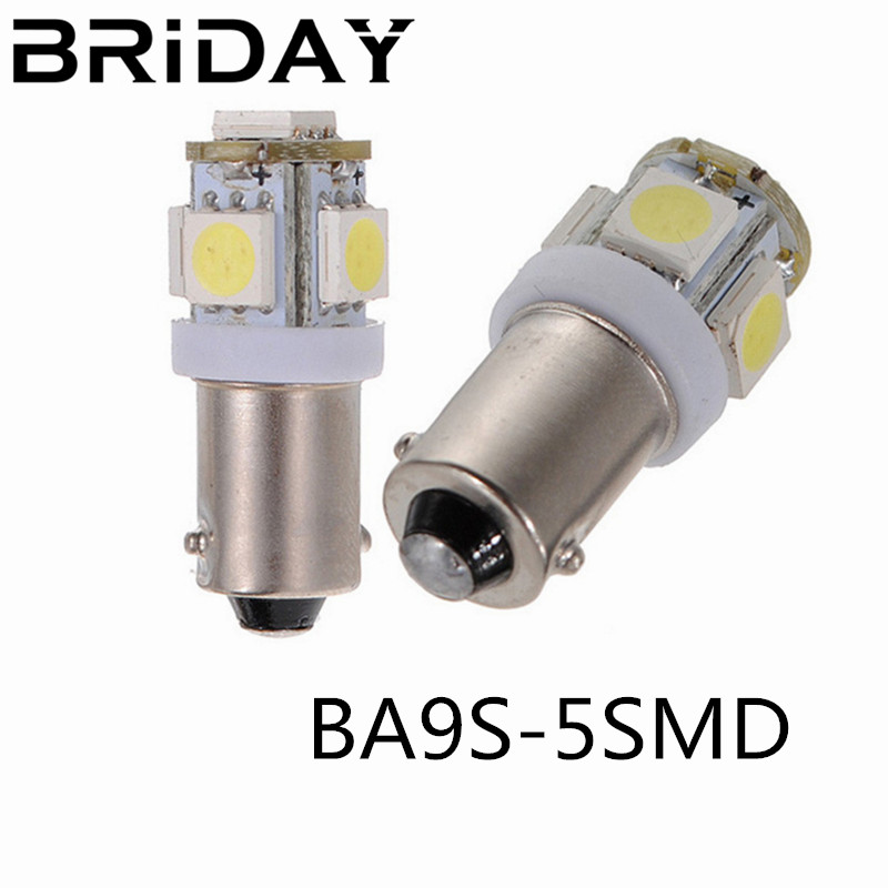 2pcs BA9S 434 T4W 5 LED 5050 SMD H6W Car Auto Interior Reading Lights Dome Lamp Wedge Marker License Plate Light DC 12V white