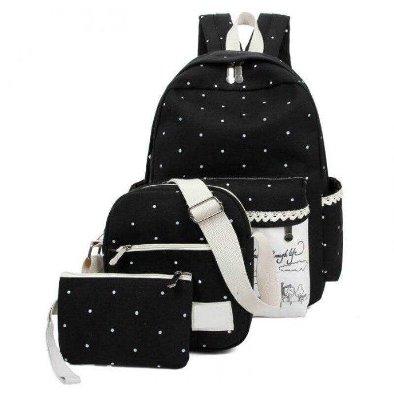 3 Pcs Set Women School Bags Backpack Women Suit Shoulder Bags Rucksack Backpack For Teenagers Girl