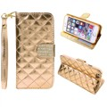 Glitter luxury diamond crystal hard Flip back card Slots Leather Wallet  Case Cover For iPhone 7 6 6plus Samsung Galaxy S6 Edge