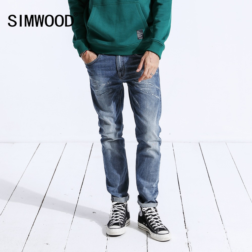 SIMWOOD 2019 Spring   Jeans   Men Fashion Casual Slim Fit High Quality Denim Trousers Long Pants Brand Clothing Hot Sale 180358