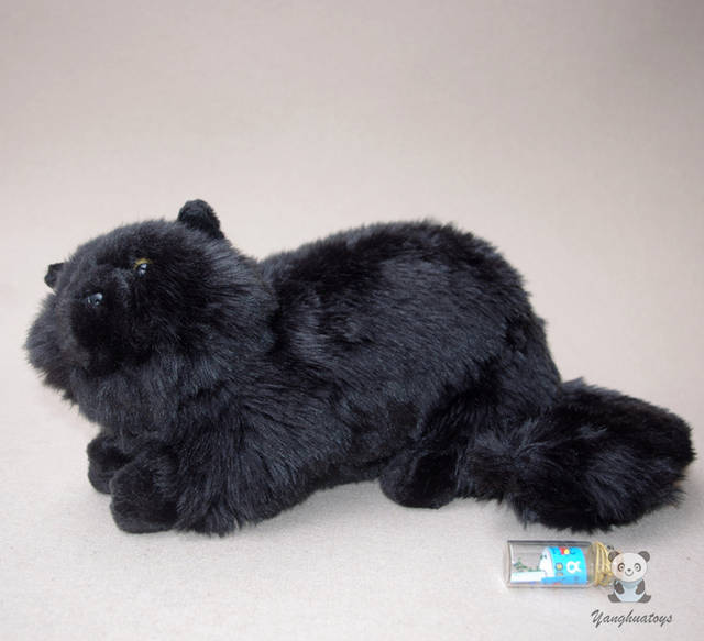 Placeholder Plush Cats Doll Toys Simulation Black Persian Cat Stuffed Toy Accessories Car Ornaments Childrens Birthday Gifts