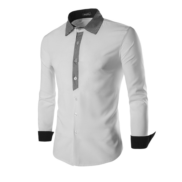 2016 Новый Эластичность Хлопок Мужчины Рубашка Способа Высокого Качества Тонкий Fit Мужская Рубашка Сплошной Цвет Сорочки Homme Социальный Рубашка мужчины