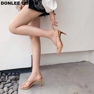 Image 2 - 新しい夏ブランドサンダルセクシーなハイヒールオープントゥグラディエーターサンダル女性狭帯域バックルストラップドレス靴 sandalias mujer 2019