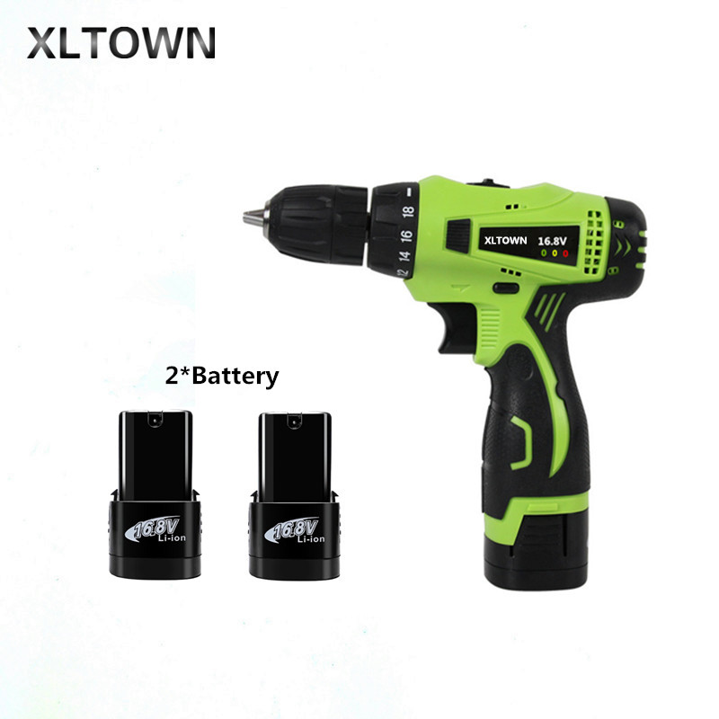 цена на Xlotwn16.8v mini electric drill with 2 battery two-speed rechargeable lithium battery electric screwdriver household power tool