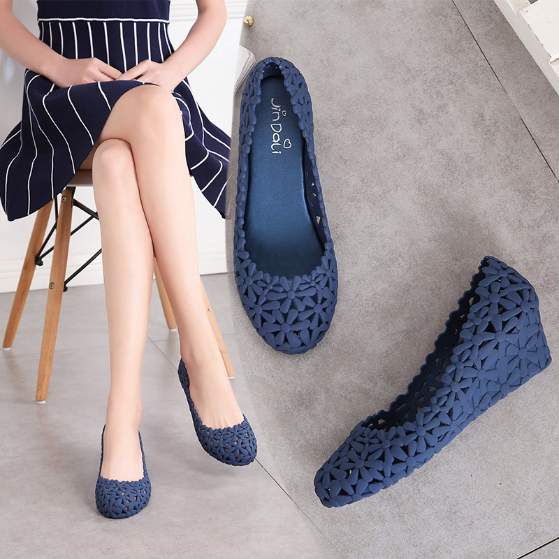 Image 5 - Women New Summer Breathable Hollow Casual Lace up Rubber High Heel Shallow Cover Heel Wedges Flower Jelly Shoes Sandals 20180914High Heels   -