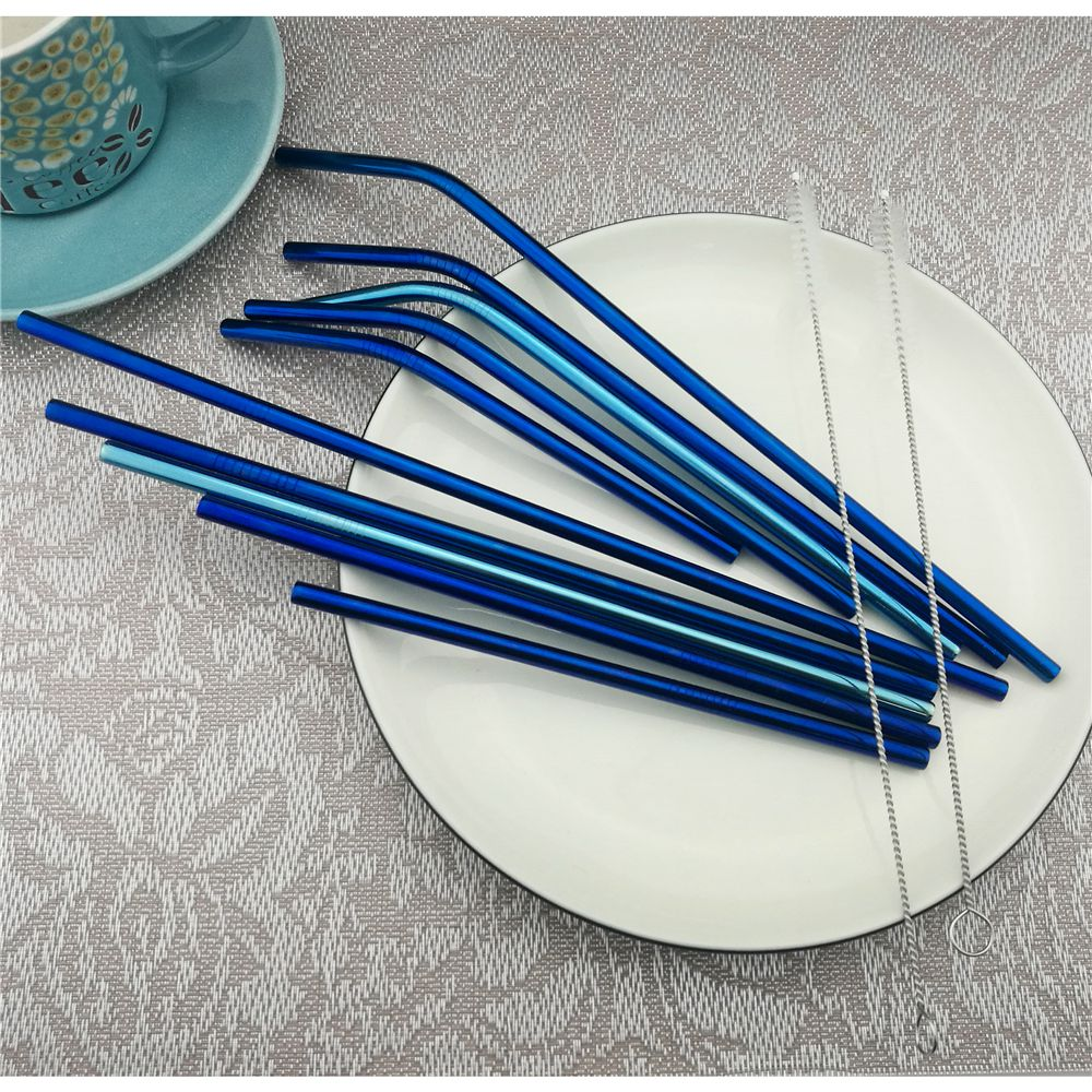 3 PCs Party Bar Reusable Stainless Steel Drinking Metal Straws Blue with Brush