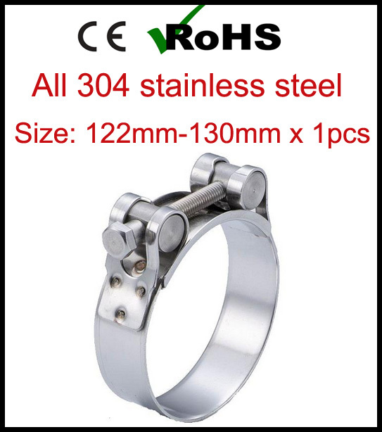 122mm-130mm x 1pcs Single Bolt Heavy Duty Hose Pipe Clamp 304 Stainless Steel Strong Force High Pressure Robust Tube Clips122mm-130mm x 1pcs Single Bolt Heavy Duty Hose Pipe Clamp 304 Stainless Steel Strong Force High Pressure Robust Tube Clips