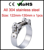 122mm 130mm x 1pcs Single Bolt Heavy Duty Hose Pipe Clamp 304 Stainless Steel Strong Force High Pressure Robust Tube Clips