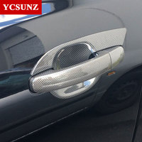 2016 2017 Carbon Fiber Color Door Handle Inserts For Ford Ranger T7 Accessories ABS Car Styling