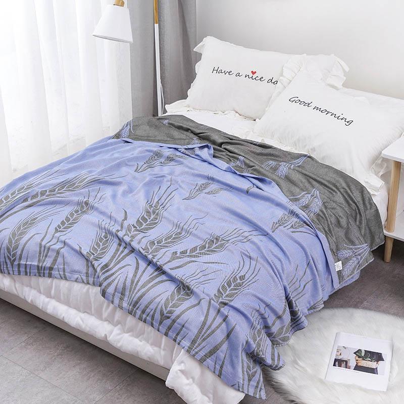 Хлопковое муслиновое летнее одеяло для кровати, дивана, дышащего стиля, мягкое одеяло для пикника, путешествий - Цвет: N