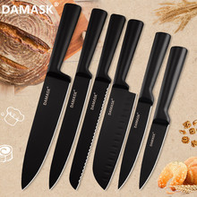 DAMASK Black Stainless Steel Kitchen Knife Coating Non-Stick Sharp Blade Chef Knives light Weight Handle Set Hot