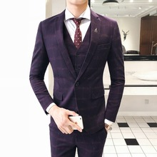 Retro Plaid 3 Pieces Suit Vest Mens Suits With Pants Slim Fit for weddings Prom Formal Dress Terno Masculino 2019
