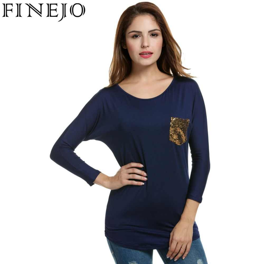 Finejo Women s T-Shirt Tops Spring Autumn Loose Batwing Long Sleeve  Sequined Pocket Long Tshirt 4ac992e83f7e