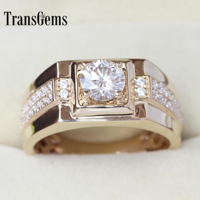 Transgems blask oryginalne 14k 585 żółte złoto 1 Carat ct F kolor zaręczyny ślub pierścień dla człowieka pierścień mężczyzn pierścionek zaręczynowy w Pierścionki od Biżuteria i akcesoria na  Grupa 2