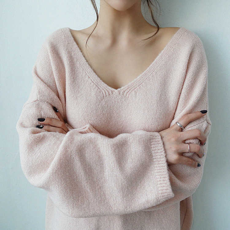 Colorfaith New 2019 Autumn Winter Women's Sweaters V-Neck Long Sleeve Tops Minimalist Korean Style Knitting Casual Pink SW8108