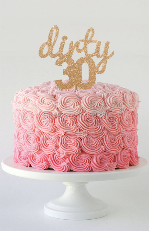 Surprising Dirty 30 Glitter Cake Topper Gold Glitter Cake Topper Design Personalised Birthday Cards Veneteletsinfo