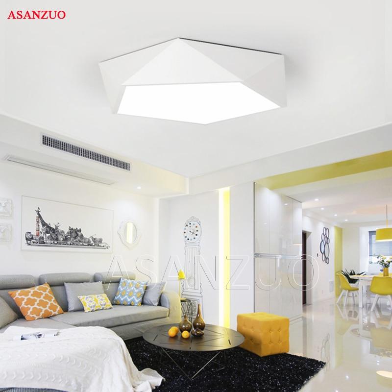 Ultrathin Modern LED ceiling lights simple home deco fixtures Bedroom dining living room iron black white pentagon ceiling lamp