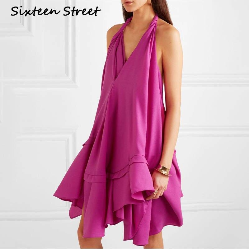 2019 nouvelle robe d'été femme col licou sans manches col en V violet clair dames dos nu vestidos de verano