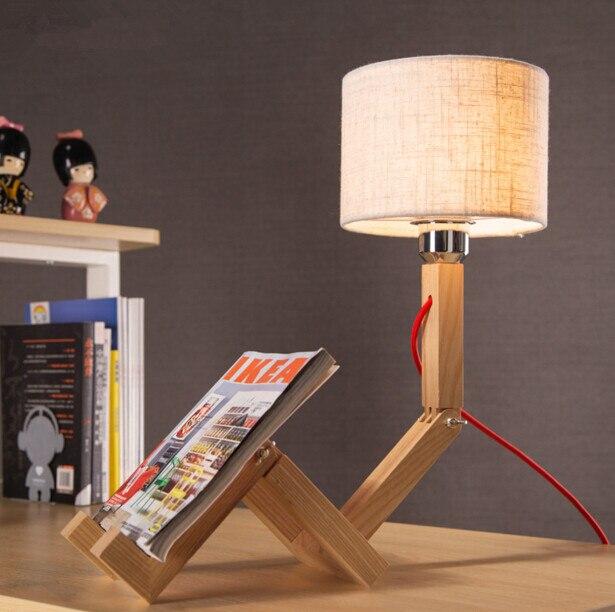 Творческий робот настольная лампа Северной Европы древесины исследования Спальня Прикроватные Простой Модные исследования настольная ла...