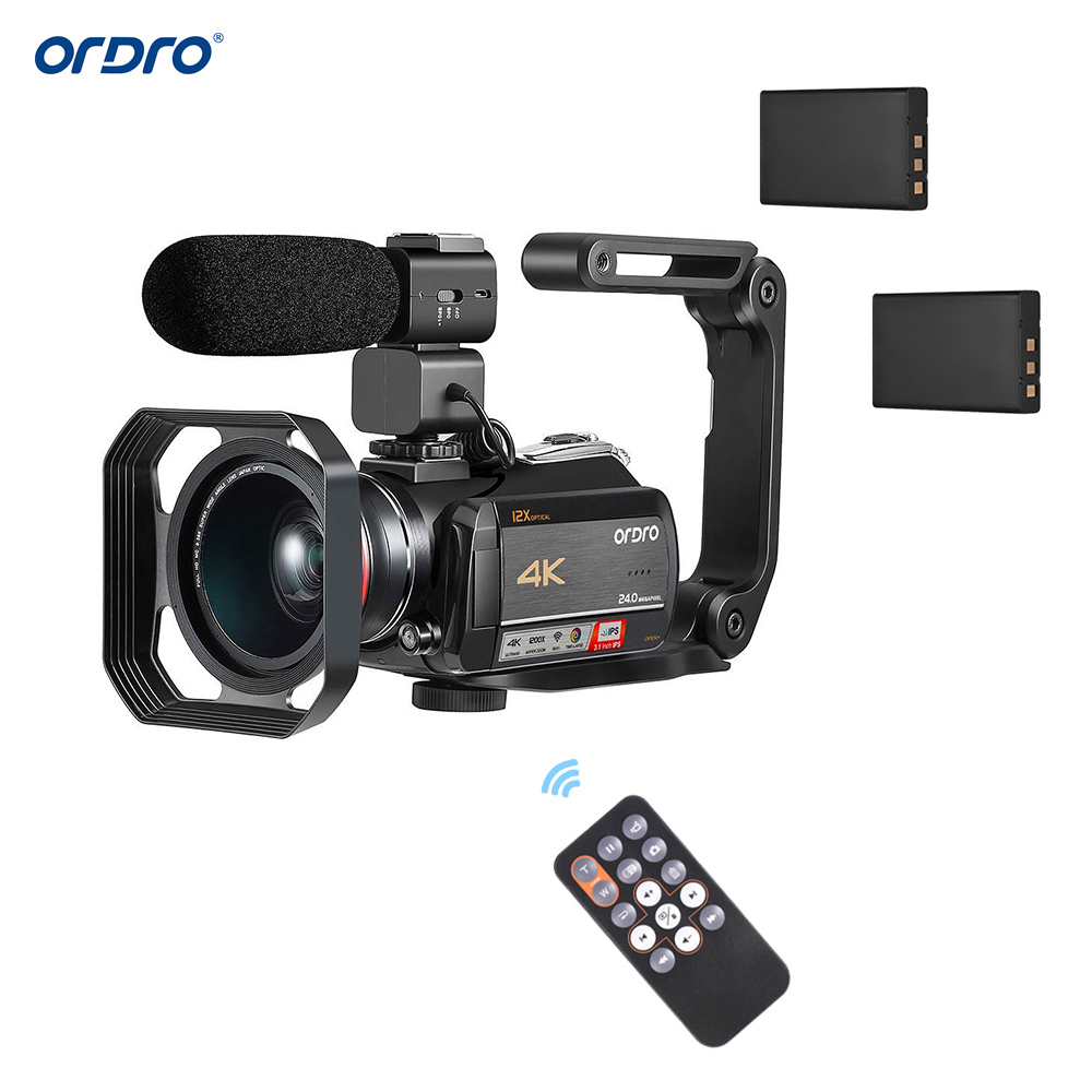 ORDRO 4K WiFi Digital Video Camera Camcorder Recorder DV 24MP IPS Touchscreen Face Detection Anti shake