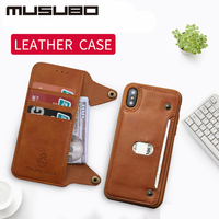 Laumans Luxury Leather Case For iphone X Flip Case Silicone Cover for iphone 8Plus 7 6 6s Plus TPU wallet card holder detachable