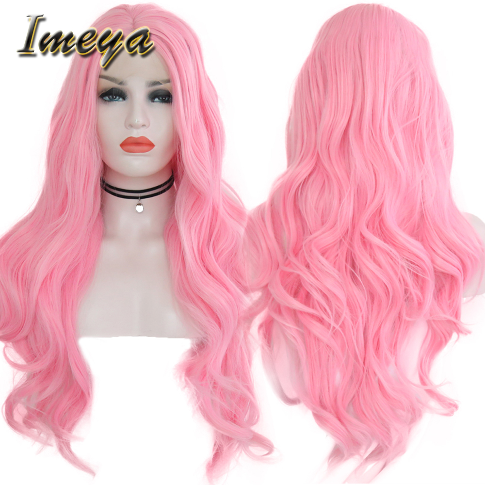 Imeya Cheap Pink Color Long Body Wave Synthetic Lace Front