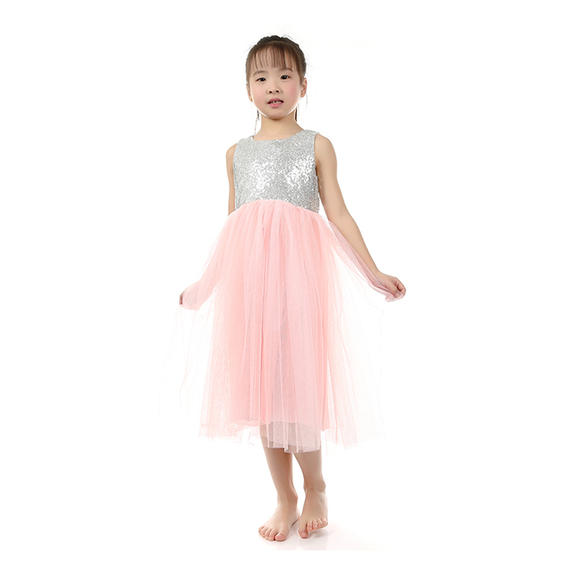 f59475a37984 Promotion One Piece Pink Tulle Flower Girl Dress Sequin Dresses ...