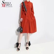 Корейский стиль женское Красное осенне-зимнее платье-рубашка миди с оборками и длинным рукавом для девушек элегантного размера плюс свободные платья 4715