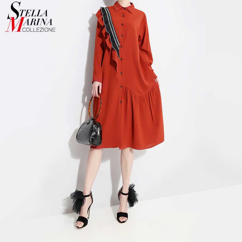2019 Koreaanse Stijl Vrouwen Rode Herfst Winter Midi Shirt Jurk Ruches Lange Mouw Dames Elegante Plus Size Losse Jurken Robe 4715