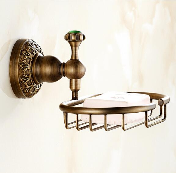 Free Shipping European Style Brass Antique Soap Dish Solid Brass Bathroom Soap Holder Soap Basket Bathroom Accessories Shelf european style brass black oil brushed solid brass bathroom soap holder ceramic cup soap basket bathroom accessories