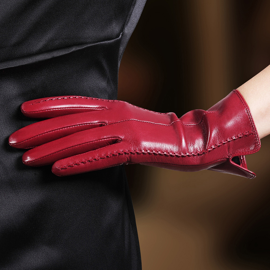 Women Leather Gloves Woman Leather Sheepskin Winter Mittens Black Dark Blue Dark Brown Light Brown Gray Purple Camel Orange
