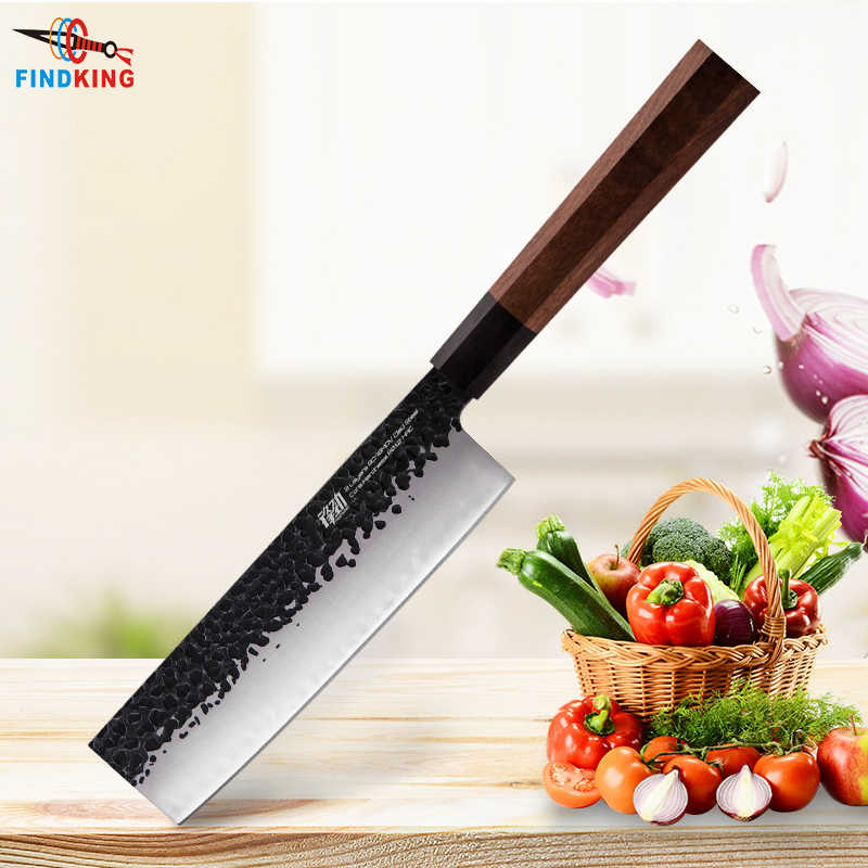 FINDKING 7 inch Clad Steel Japanese Professional Octagonal Handle Sushi Knife Kitchen Nakiri Knife Kitchen Knife