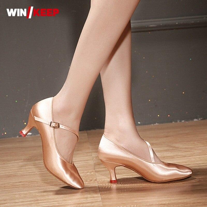2019 New Women Standard Dance Shoes Satin High Heel Ladies Ballroom Dance Shoe Soft Outsole Modern Dance Female Buckle