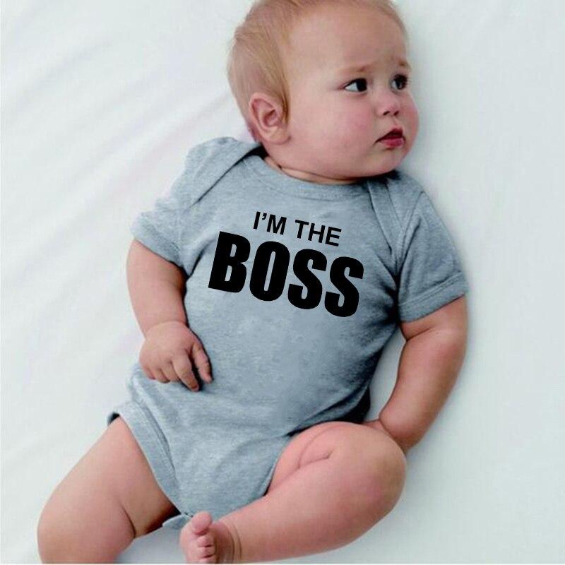 Newborn Infant baby clothing roupa de bebe I am the boss Letter Print Outfits Kids Clothes   Romper   Jumpsuit kids clothes 0-24M