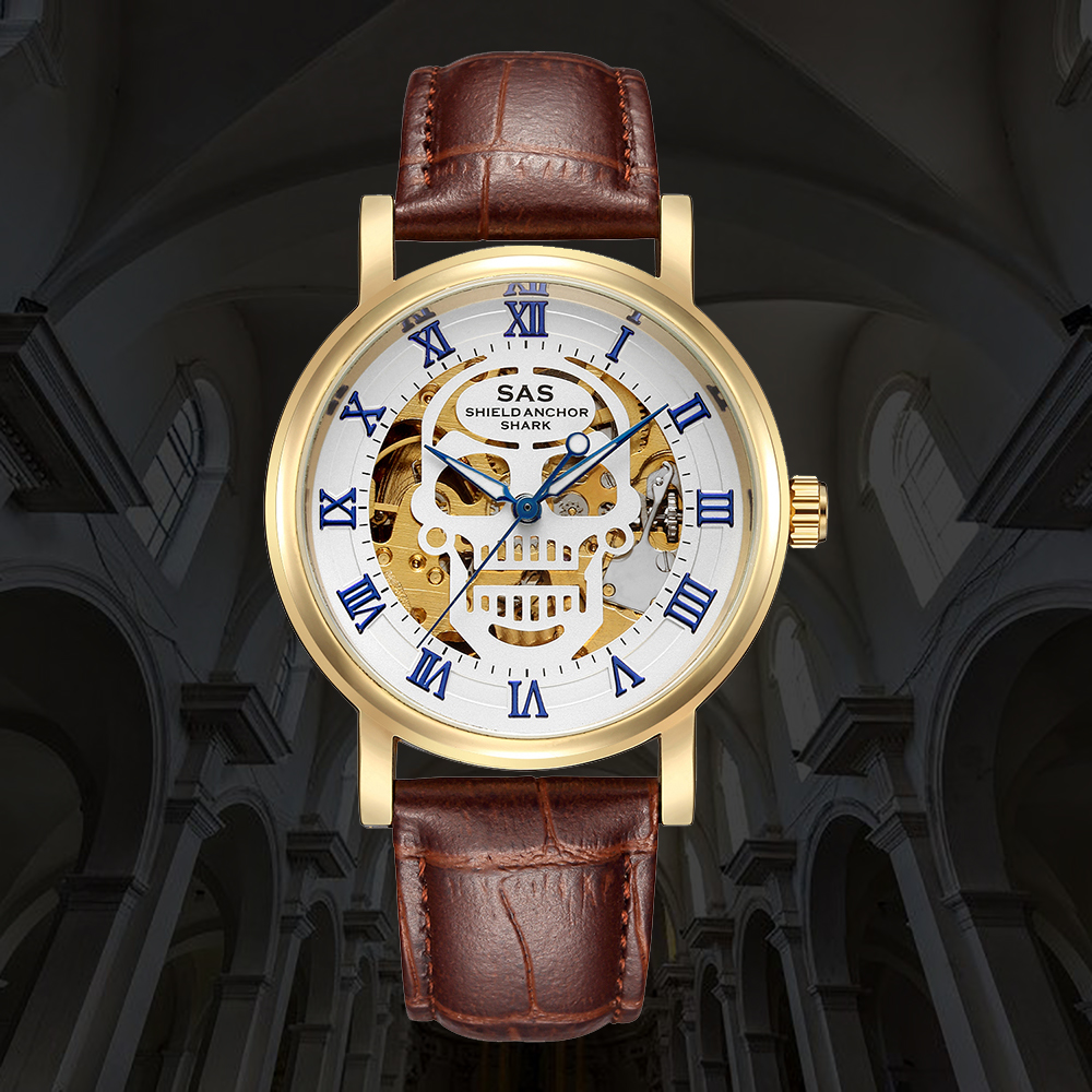 Watch Men Skeleton Automatic Mechanical Watch Gold Skeleton Man's Watch Mens Watches Top Brand Luxury Clock Horloges Mannen saat