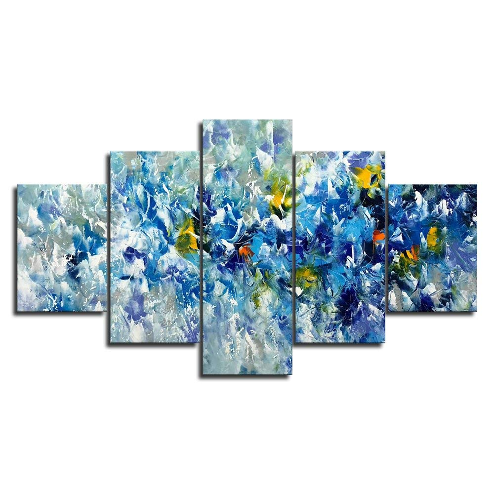 Abstract Blue Yellow And White Flowers