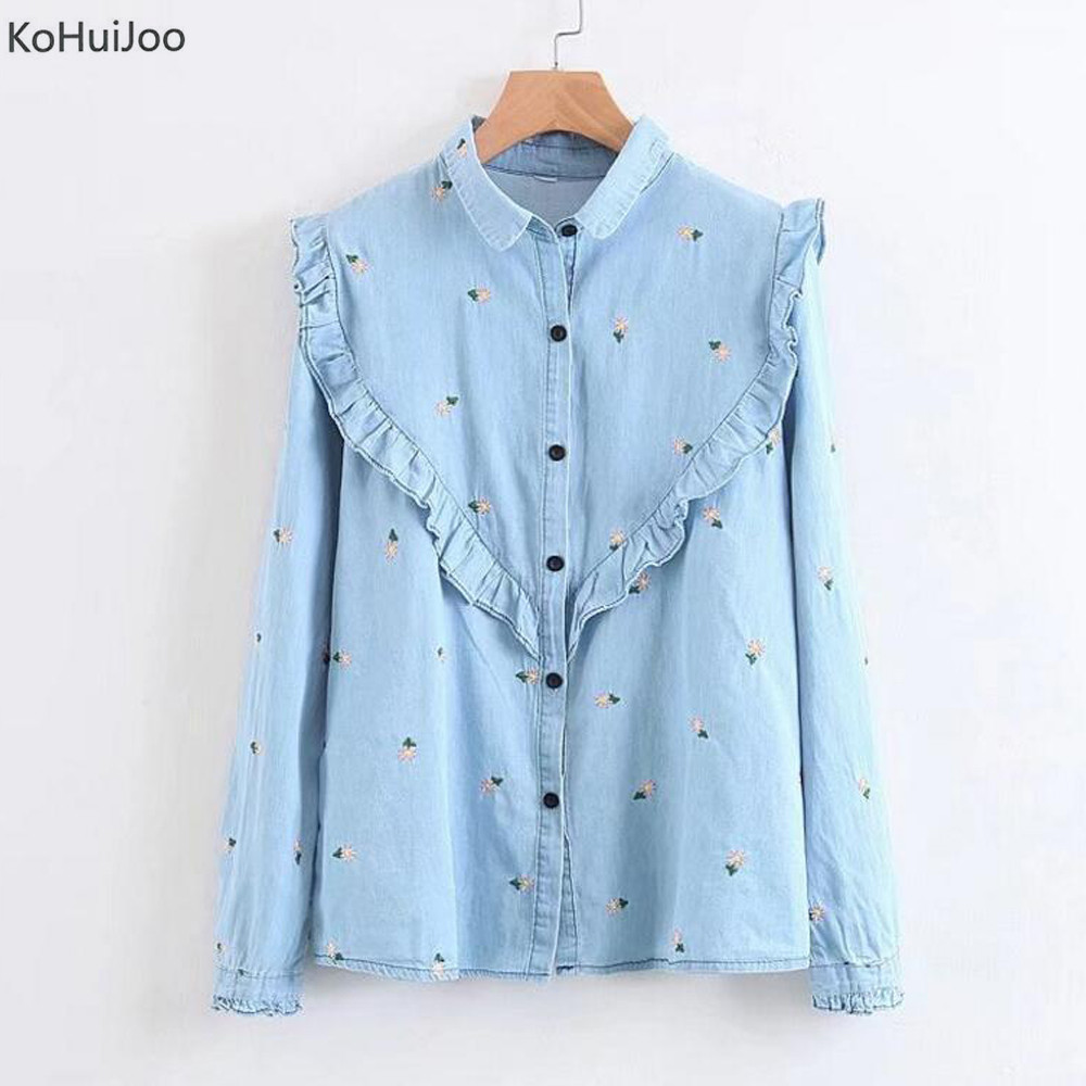 KoHuiJoo 2018 Spring Ruffle Denim Shirt Womenr Fashion Style Casual Shirts Floral Embroidery Blue Long Sleeve Jeans Blouses