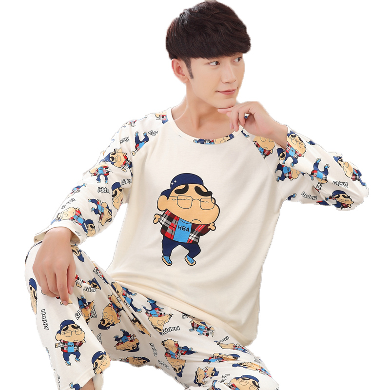 Spring Autumn Cotton Long Men's Pajamas Letter Cartoon Sleepwear Mens Pajama Sets Casual Men Pyjamas Plus Size 4XL Home Clothes