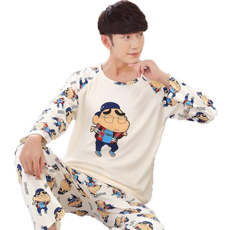 Spring Autumn Cotton Long Men's Pajamas Letter Cartoon Sleepwear Mens Pajama Sets Casual Men Pyjamas Plus Size 4XL Home Clothes