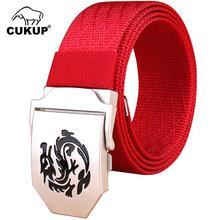 CUKUP Unisex Design Fashion Accessories Top Quality Nylon Belts Dragon Automatic Buckle Female Waistbands Red Belt Women CBCK087