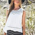 Women Casual Hollow Blouses Shirt Blusas 2016 Summer Lace Linen Crochet Loose Casual Sleeveless Tank Tops Vests Plus Size