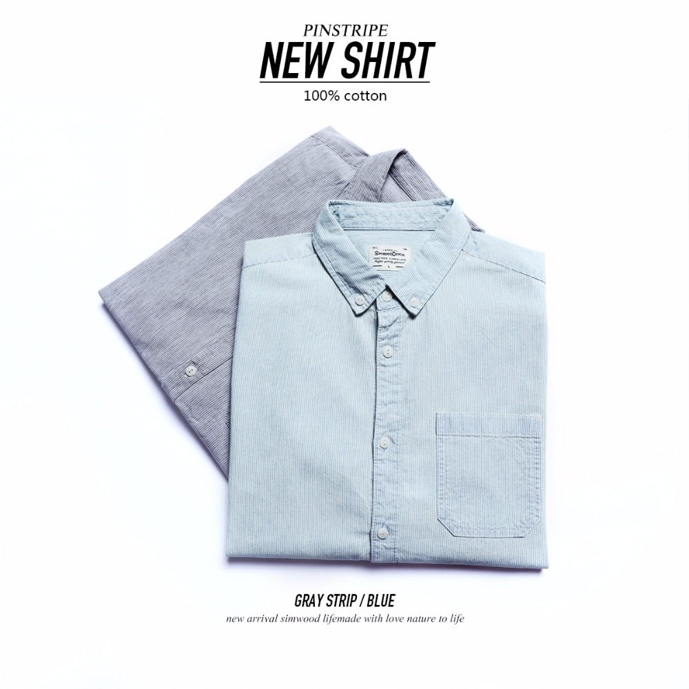 SIMWOOD New 2020 Men Shirts Brand Long Sleeve Vertical Striped Cotton Blouse Fit Fashion Shirt For Male Camisa Masculina 180308