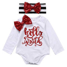 Newborn Baby Girls Bowknot Hello World long sleeve o-neck Bodysuit +sequins bowknot striped Headband Outfits 0-18M(China)