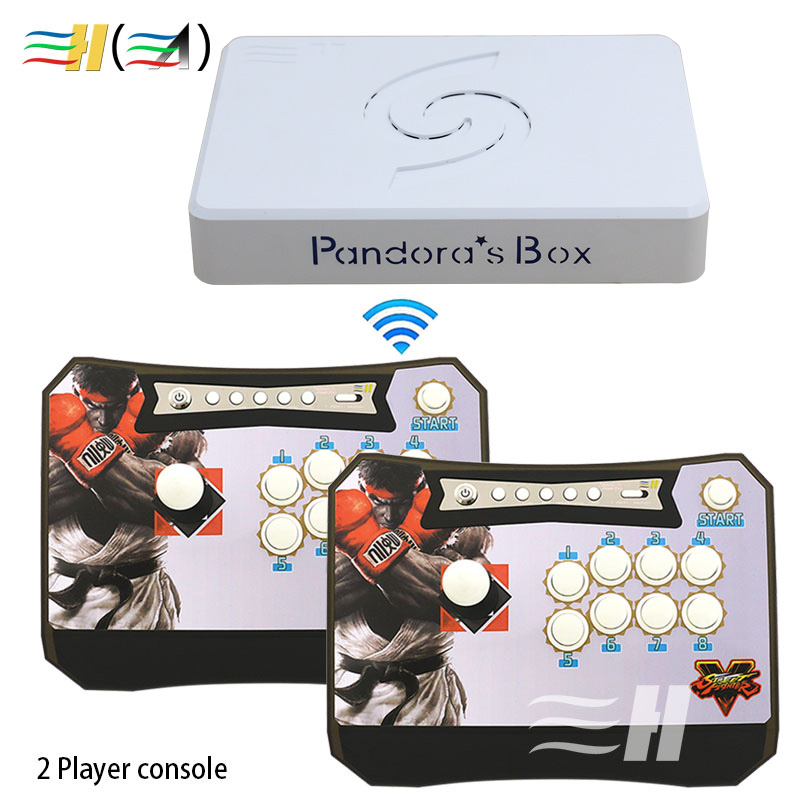 Pandora's Box 6 1300 in 1 Wireless Arcade Stick to PC PS3 Pandora Box 6 Arcade Joystick Fight თამაშის პანელი Arcade Controller 3D