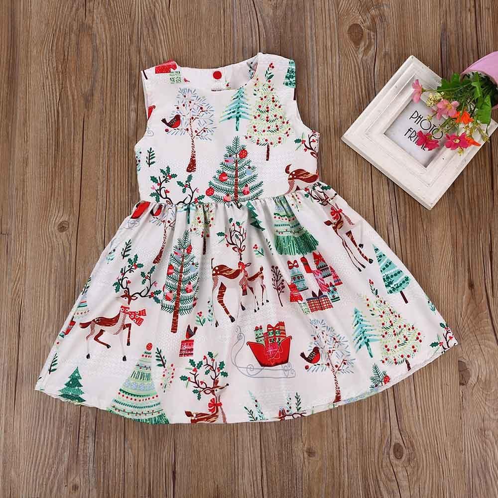 Christmas DresseToddler Sleeveless Cartoon o-neck Print Dress Clothes Kids Baby Girls princess child parties dresses vestidos stylish plunging neck sleeveless vintage print women s dress