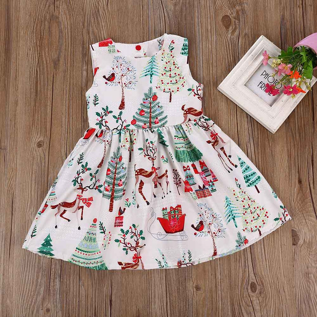 d20faee45c18 Christmas DresseToddler Sleeveless Cartoon o neck Print Dress ...