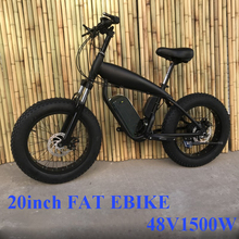 Custom 20inch Fat tire ebike 1500W 48V45ah Li-ion snow electric mountain bicycle Hydraulic disc brake Double lithium battery
