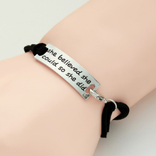 Fashion PU Leather Weaving Engrave Bracelets For Women She Believed Could So Did Charm Letter Bracelet Inspiring
