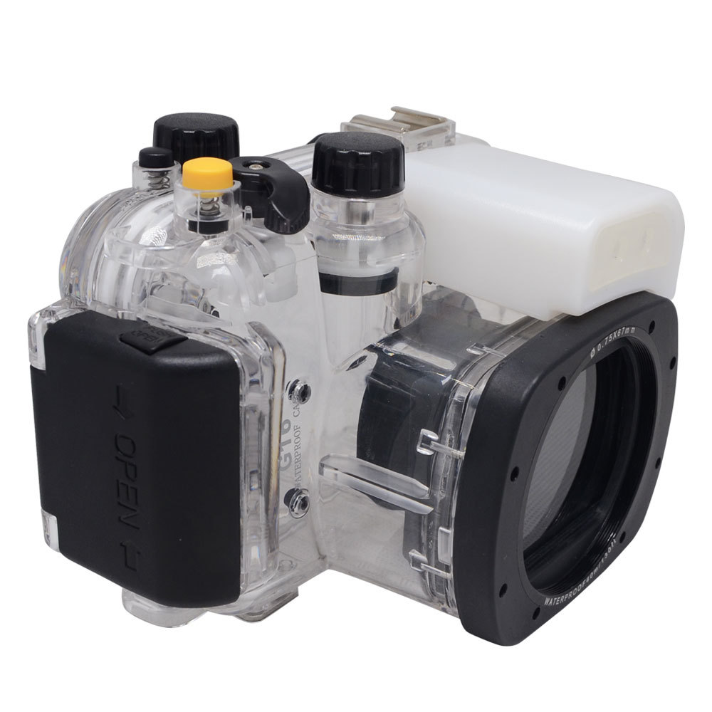 In Stock Right! Meikon 40m/130ft Underwater Housing Waterproof Camera Diving Case for Canon G16 meikon underwater camera housing for sony a6000 16 50mm 40m 130ft diving handle 67mm red diving filter